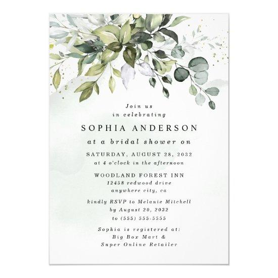 Dusty Blue Eucalyptus Greenery Boho Bridal Shower Invitation