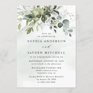 Dusty Blue Eucalyptus Greenery Engagement Party Invitation starting at 2.25