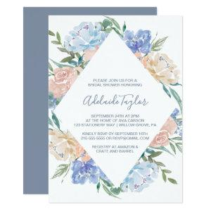 Dusty Blue Floral Diamond Bridal Shower Invitation starting at 2.26