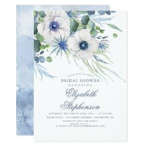 Dusty Blue Floral Greenery Modern Bridal Shower Invitation starting at 2.26