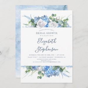 Dusty Blue Floral Greenery Modern Bridal Shower Invitation starting at 2.51