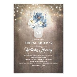 Dusty Blue Floral Mason Jar Rustic Bridal Shower Invitation starting at 2.26