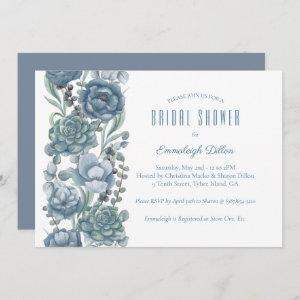 Dusty Blue Floral Succulents Bridal Shower Invitation starting at 2.51