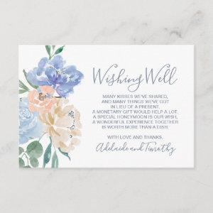 Dusty Blue Florals Wedding Wishing Well Enclosure Card starting at 1.91