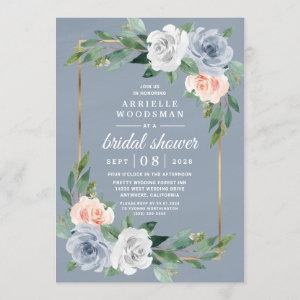 Dusty Blue Gold Blush Pink Peach Bridal Shower Invitation starting at 2.25
