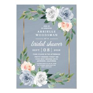 Dusty Blue Gold Blush Pink Peach Bridal Shower Invitation starting at 2.00