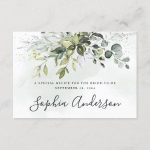 Dusty Blue Greenery Bridal Shower Recipe Cards starting at 1.70