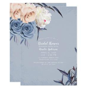 Dusty Blue Grey & Peach Floral Bridal Shower Invitation starting at 2.30