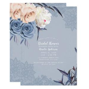 Dusty Blue Grey & Peach Floral Lace Bridal Shower Invitation starting at 2.30