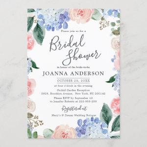 Dusty blue hydrangeas pink roses Bridal Shower Invitation starting at 2.40