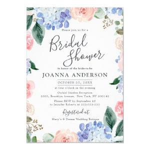 Dusty blue hydrangeas pink roses Bridal Shower Invitation starting at 2.15