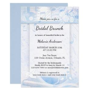 Dusty Blue Music Themed Brunch Bridal Shower Invitation starting at 2.55