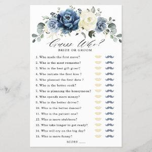 Dusty Blue Navy Champagne Ivory Bridal Shower Game starting at 0.65