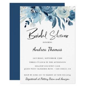 Dusty Blue Navy Floral Bridal Shower Invitation starting at 2.40