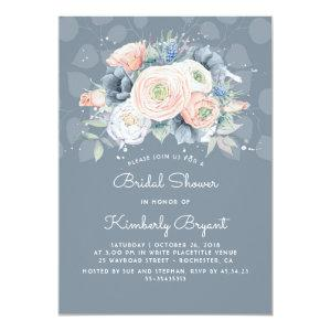 Dusty Blue Peach and Pink Floral Bridal Shower Invitation starting at 2.15