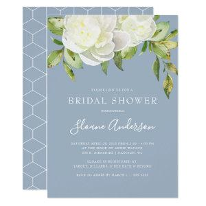 Dusty Blue Spring Floral Peony Bridal Shower Invitation starting at 2.15