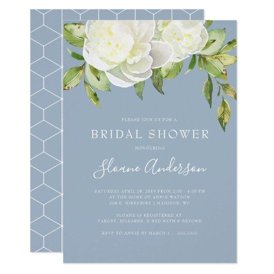 cb99667710b97 Dusty Blue Spring Floral Peony Bridal Shower Invitation – Bridal ...