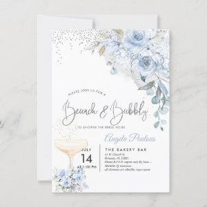 Dusty Blue Watercolor Roses Brunch Bubbly Invitation starting at 2.20