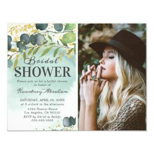 Dusty Eucalyptus Gold Photo Bridal Shower Invitation starting at 2.10