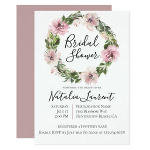 Dusty Mauve Floral Wreath Bridal Shower Invitation starting at 2.51