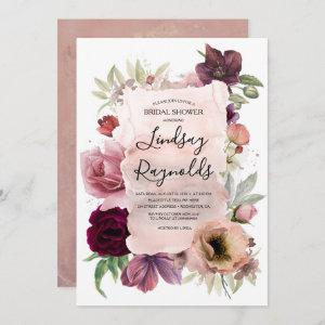 Dusty Pink Burgundy Floral Vintage Bridal Shower Invitation starting at 2.51