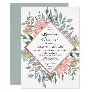 Dusty Pink Rustic Floral Pastel Chic Bridal Shower Invitation starting at 2.05