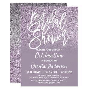 Dusty Purple Gray Faux Glitter Ombre Bridal Shower Invitation starting at 2.50