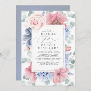 Dusty Rose and Dusty Blue Floral Bridal Shower Invitation starting at 2.51