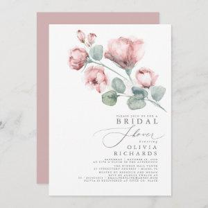 Dusty Rose Floral Elegant Minimal Bridal Shower Invitation starting at 2.51