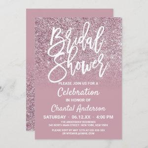 Dusty Rose Gold Pink Glitter Ombre Bridal Shower Invitation starting at 2.50