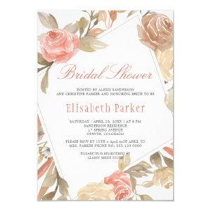 Dusty Rose Peach Cream Floral Bridal Shower Invitation starting at 2.20