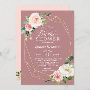 Dusty Rose Pink Blush Floral Chic Bridal Shower starting at 2.35