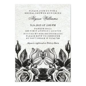 Edgy Victorian Roses Black and White Bridal Shower Invitation starting at 2.66
