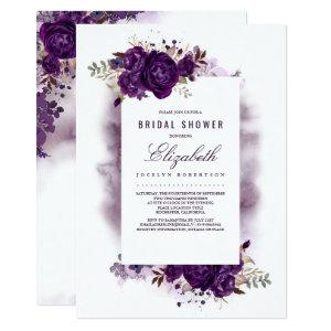 Eggplant Purple Floral Watercolor Bridal Shower Invitation starting at 2.51