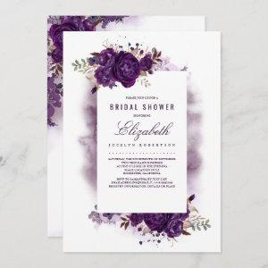 Eggplant Purple Floral Watercolor Bridal Shower starting at 2.51