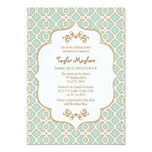 Eggshell Blue Gold Moroccan Bridal Shower Invites starting at 2.66