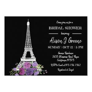 Eiffel Tower Floral Black and White Bridal Shower Invitation starting at 2.40