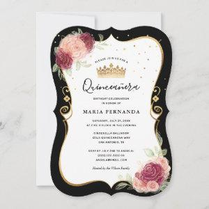 Elegant Black and Gold Pink Floral Quinceanera Invitation starting at 2.76