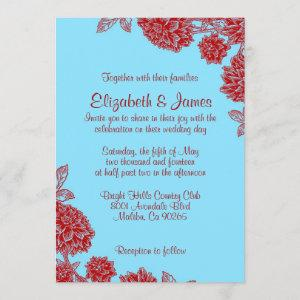 Elegant Blue And Red Wedding Invitations starting at 2.66