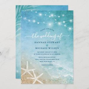 Elegant Blue and Teal Watercolor Beach Wedding Invitation starting at 2.82