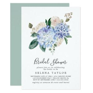 Elegant Blue Hydrangea | White Bridal Shower Invitation starting at 2.51