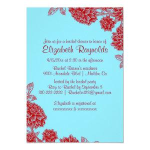 Elegant Blue & Red Bridal Shower Invitations starting at 2.66