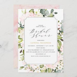 Elegant  Blush Floral and Eucalyptus Bridal Shower Invitation starting at 2.66