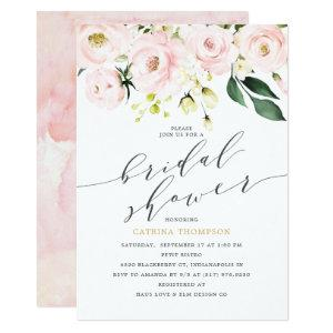 Elegant  Blush Floral and Eucalyptus Bridal Shower Invitation starting at 2.36