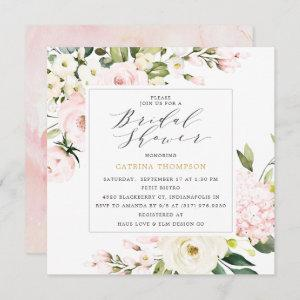 Elegant Blush Floral Greenery Bridal Shower Invitation starting at 2.51