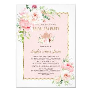 Elegant Blush Flowers Gold Frame Bridal Tea Party Invitation starting at 2.55