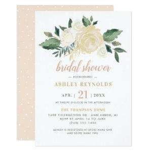 Elegant Blush Neutral Blooms Floral Bridal Shower Invitation starting at 2.26