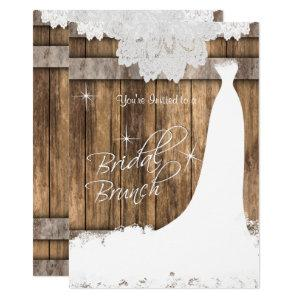 Elegant Bridal Brunch in Rustic Wood and Lace Invitation starting at 2.40