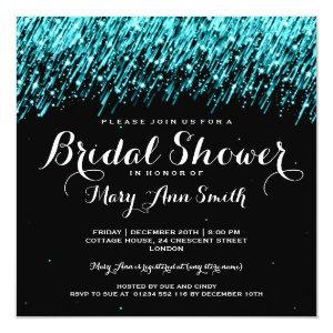 Elegant Bridal Shower Falling Stars Turquoise Invitation starting at 2.67