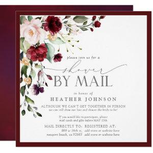 Elegant Burgundy Floral Bridal Shower by Mail Invitation starting at 2.30